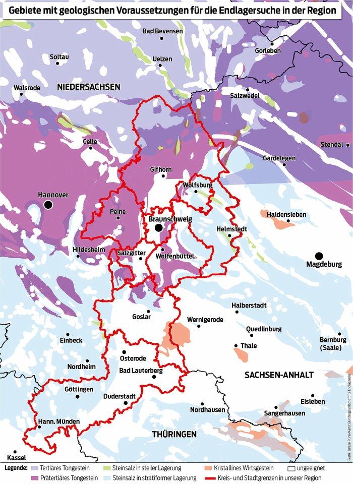 Diese Gebiete in unserer Region sind geologisch grundsätzlich geeinigt.