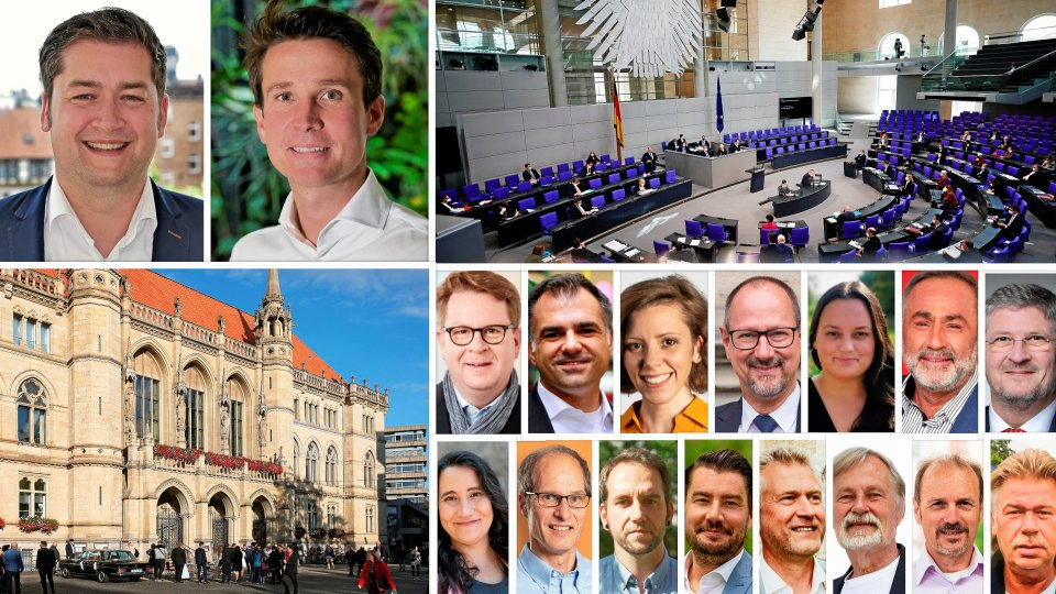 Die Stichwahl-Kandidaten fürs Oberbürgermeister-Amt (oben von links): Thorsten Kornblum (SPD), Kaspar Haller (parteilos, für CDU, FDP und Volt). Die Direktkandidatinnen und Direktkandidaten für die Bundestagswahl: Carsten Müller (CDU), Christos Pantazis (SPD), Anikó Merten (FDP), Frank Weber (AfD), Margaux Erdmann (Grüne),Alper Özgür (Linke), Eike Jankun (Freie Wähler), Saskia Wolters (Sozialpädagogische Assistentin, V-Partei3 / Partei für Veränderung, Vegetarier und Veganer), Joachim Arndt (Lehrer, ÖDP/Ökologisch-Demokratische Partei), Philipp Schwartz (Mechatroniker, Marxistisch-Leninistische Partei Deutschlands/MLPD), Christoph Bedürftig (Die Basis), Christian Helck (Geschäftsführer, Liberal-Konservative Reformer/LKR), Peter Rosenbaum (BIBS), Andreas Wolter (Dipl.-Ingenieur, parteilos), Erdmann Gust (Maschinenbautechniker, Einzelbewerber).