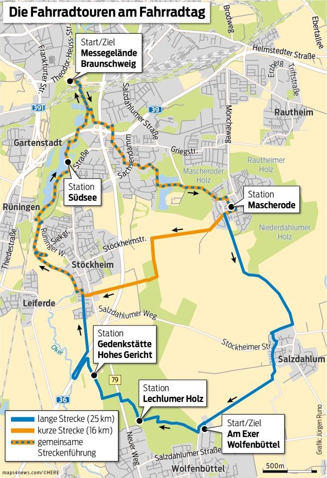 Zwei Strecken werden am BZV-Fahrradtag angeboten.