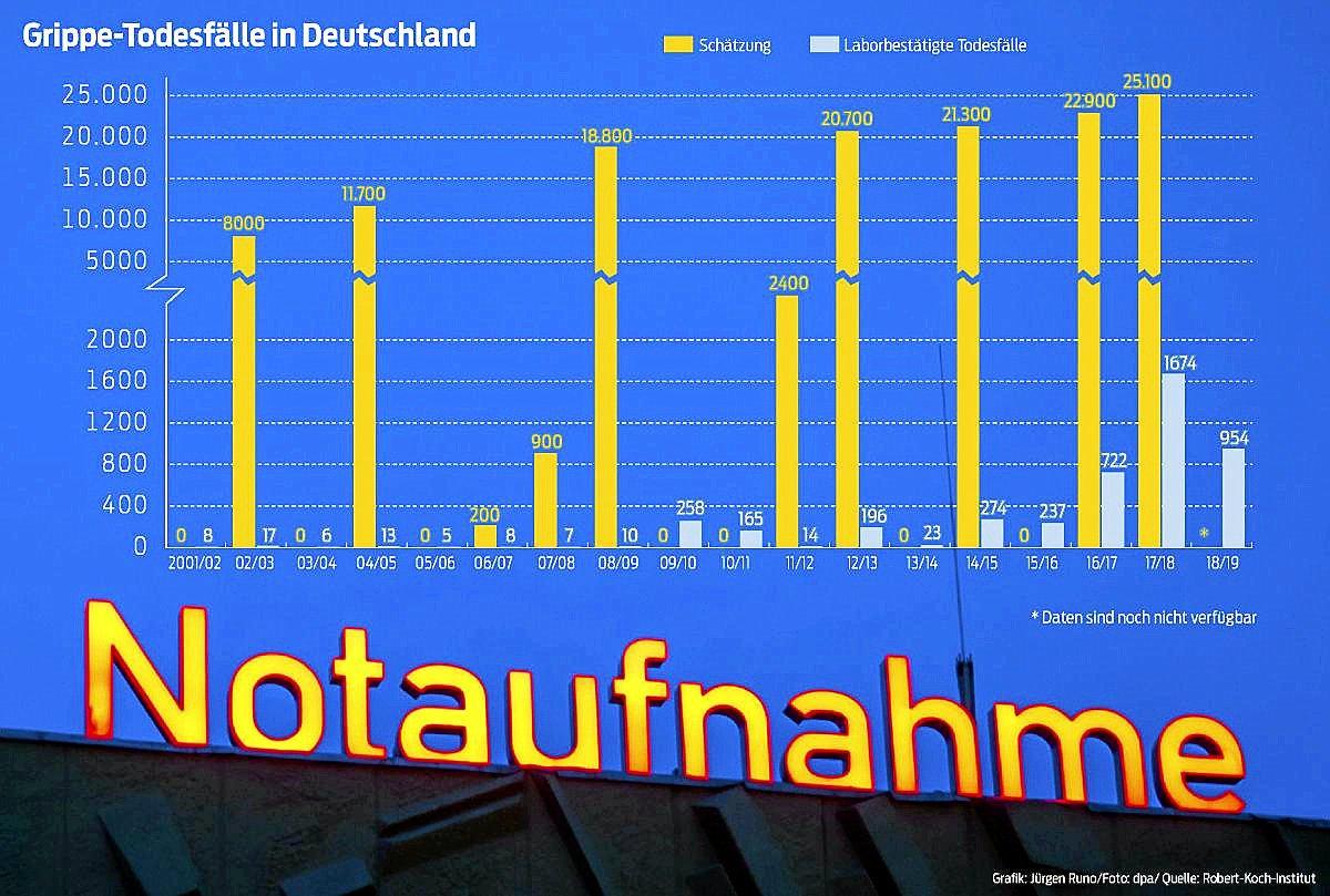 Grippe-Todesfälle in Deutschland seit 2001: Schätzungen und laborbestätigte Fälle